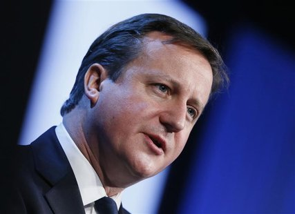 Britain's Prime Minister David Cameron speaks during the annual meeting of the World Economic Forum (WEF) in Davos January 24, 2013. REUTERS