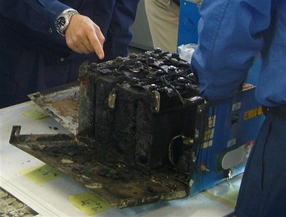The burnt auxiliary power unit battery, removed from an All Nippon Airways' (ANA) Boeing Co 787 Dreamliner plane which made an emergency lan
