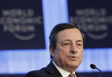 European Central Bank (ECB) President Mario Draghi attends the annual meeting of the World Economic Forum (WEF) in Davos January 25, 2013. R