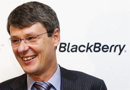 Blackberry CEO Thorsten Heins attends a launch event for the new Blackberry Z10 device at a Rogers store in Toronto February 5, 2013. REUTER