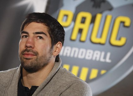 Nikola Karabatic, former Montpellier handball club player, attends a news conference at the PAUC Handball club in Aix-en-Provence, Febuary 2