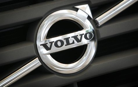 The logo of Volvo is seen on the front grill of a Volvo truck in a customer showroom at company headquarters in Gothenburg in this September