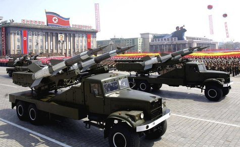 Rockets are carried by military vehicles during a military parade to celebrate the centenary of the birth of North Korea's founder Kim Il-su