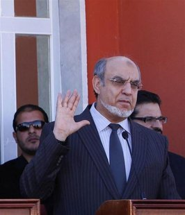 Tunisian Prime Minister Hamadi Jebali speaks during a joint news conference in the border town of Ghadames, southwest of Tripoli January 12,
