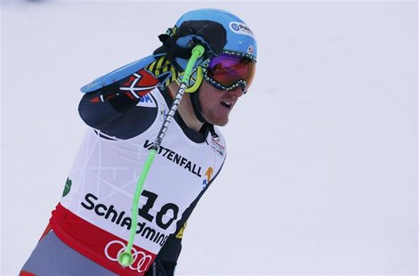 Ted Ligety of the U.S. reacts after his men's Super G race at the World Alpine Skiing Championships in Schladming February 6, 2013. REUTERS/