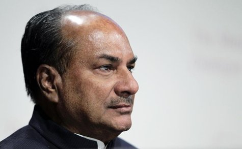 India's Defence Minister A.K. Antony waits to speak at a plenary session of the 11th International Institute of Strategic Studies (IISS) Asi