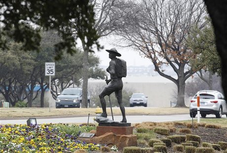 The statue of a scout stands in the entrance to Boy Scouts of America Museum and Family Center in Irving, Texas, February 5, 2013. REUTERS/T