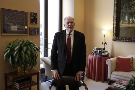 John Brennan, nominee for CIA Director, arrives at a meeting with Senate Intelligence Committee Chairman Dianne Feinstein (D-CA) on Capitol