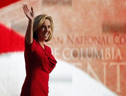 Former Massachusetts Lt. Governor Kerry Healey acknowledges applause before addressing the final session of the 2012 Republican National Con