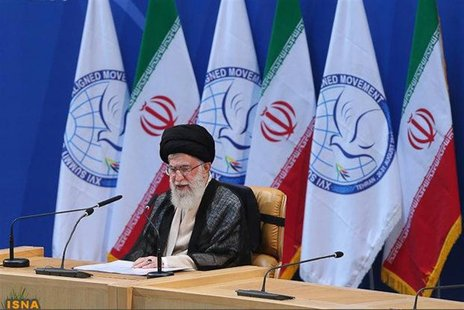 Iran's Supreme Leader Ayatollah Ali Khamenei speaks during the 16th summit of the Non-Aligned Movement in Tehran, in this file photo taken A