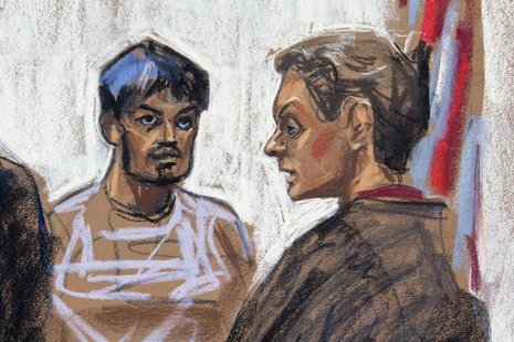 A courtroom sketch shows Quazi Mohammad Rezwanul Ahsan Nafis (L) being arraigned in the United States District Court of the Eastern District