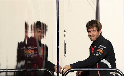 Red Bull Formula One driver Sebastian Vettel of Germany is seen in the paddock during a training session at the Jerez racetrack in southern