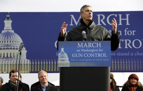 Secretary of Education Arne Duncan addresses the March on Washington for Gun Control on the National Mall in Washington, January 26, 2013. R