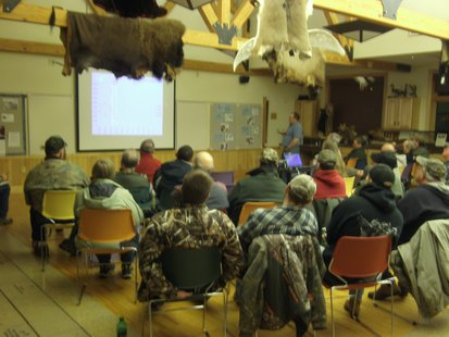 Waterfowl hunters gather at Mead Wildlife Center to discuss special hunting rules used on this state owned property.
