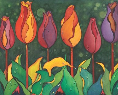 """Clothed in Splendor"" - the 2013 Tulip Time Festival Official Poster by Maggie Schultz (courtesy Tulip Time Festival)"