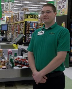 Wisconsin State Champion grocery bagger Jared Seidel from Marshfield's Festival Foods.