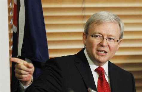 Australia's former Prime Minister Kevin Rudd reacts during a news conference at Parliament House in Canberra February 27, 2012. REUTERS/Dani
