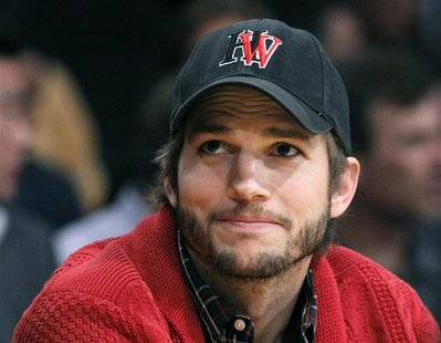 Actor Ashton Kutcher sits courtside during Game 2 of the Los Angeles Lakers against Denver Nuggets NBA Western Conference quarter-final bask