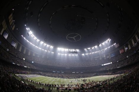 The Superdome is darkened during a power outage in the third quarter of the NFL Super Bowl XLVII football game in New Orleans, Louisiana, Fe