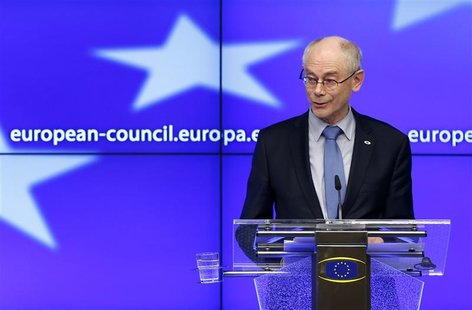 European Council President Herman Van Rompuy addresses a news conference after an European Union leaders summit in Brussels February 8, 2013