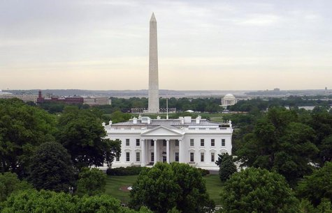 The White House is seen with the Washington Monument (L) behind it and the Jefferson Memorial (R) in Washington, May 1, 2011. REUTERS/Gary H
