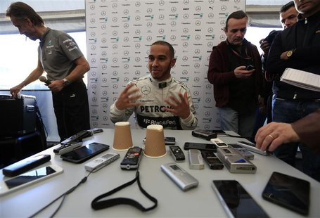 Mercedes Formula One racing driver Lewis Hamilton of Britain attends a news conference at the Jerez racetrack in southern Spain February 4,