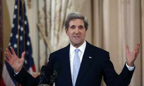 John Kerry delivers remarks after being sworn-in as U.S. Secretary of State during a ceremony at the State Department in Washington, Februar