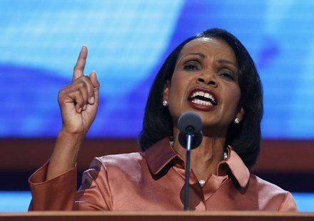 Former Secretary of State Condoleezza Rice speaks during the third session of the Republican National Convention in Tampa, Florida August 29