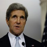 U.S. Secretary of State John Kerry speaks to the press following his meeting with Canada's Foreign Minister John Baird (not pictured) at the