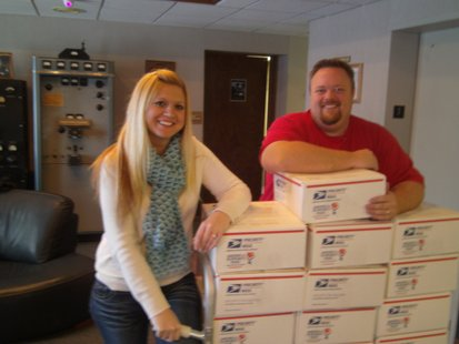 WDEZ's Vanessa Ryan and Bryan Scott preparing Valentines for shipment to Afghanistan
