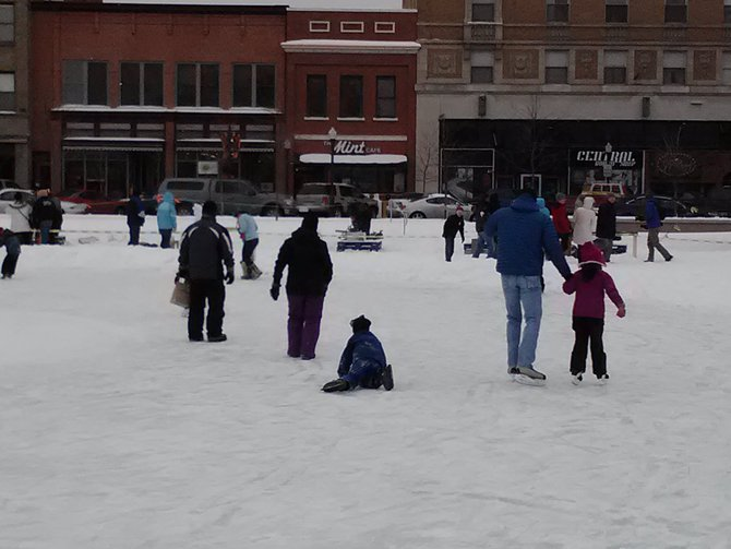 Skating on the 400 Block in downtown Wausau at the 2nd Annual Winterfest.