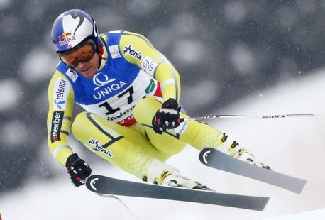 Aksel Lund Svindal of Norway skis during the men's Downhill race at the World Alpine Skiing Championships in Schladming February 9, 2013. RE