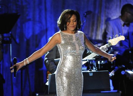 Whitney Houston performs at the Pre-Grammy Gala & Salute to Industry Icons with Clive Davis honoring David Geffen held in Beverly Hills, Cal