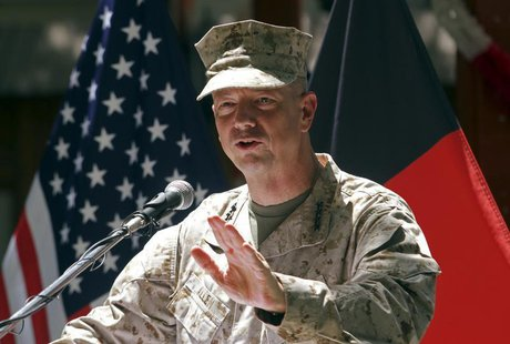 U.S. General John Allen, commander of the North Atlantic Treaty Organization (NATO) forces in Afghanistan, speaks during U.S. Independence D