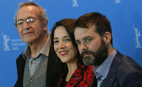 "Director Sebastian Lelio (R-L), actress Paulina Garcia and actor Sergio Hernandez pose during a photocall to promote the movie ""Gloria"" at t"