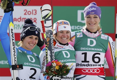 Second placed Nadia Fanchini of Italy (L), first placed Marion Rolland of France (C) and third placed Maria Hoefl-Riesch of Germany celebrat