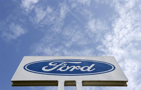The logo of Ford Motor Co is seen at the company's assembly plant after an emergency meeting with the plant management in Genk October 24, 2