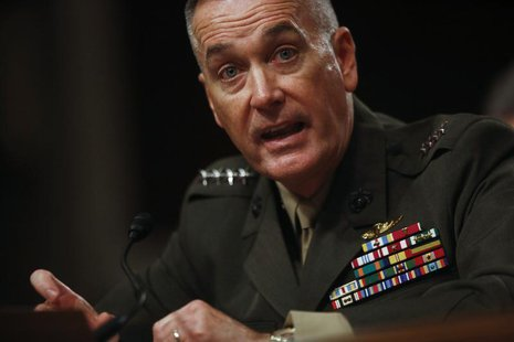 Marine Corps General Joseph Dunford testifies at a Senate Armed Services Committee hearing in Washington, November 15, 2012. REUTERS/Jason R