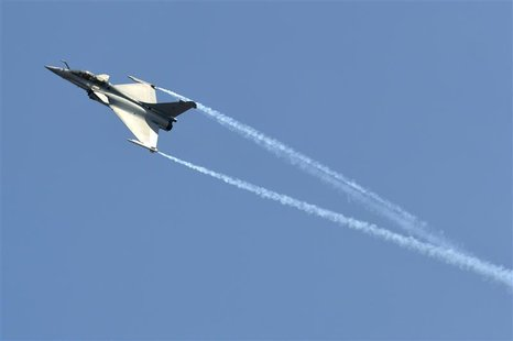 A Dassault Rafale combat aircraft, which has been selected by the Indian Air Force for purchase, performs during the inauguration ceremony o