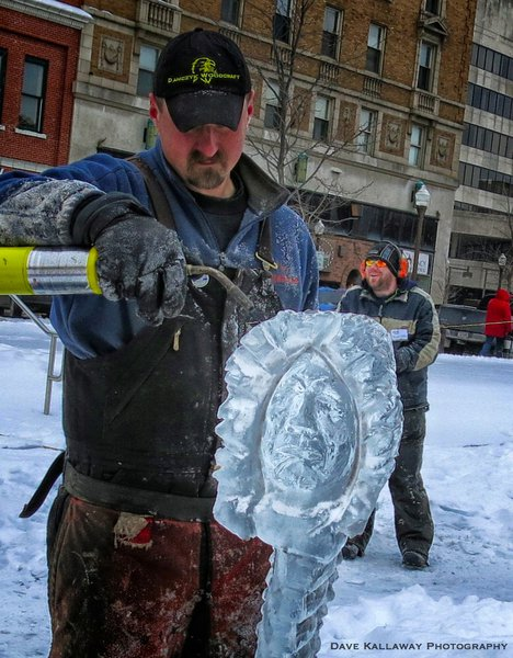 Ice Sculpures will stay in the 400 Block for as long as Mother Nature lets them....