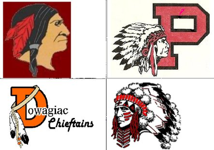 From top left to bottom right, Takonsha Indians, Paw Paw Redskins, Dowagiac Chieftains, White Pigeon Chiefs