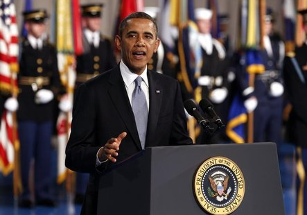 U.S. President Barack Obama speaks at the Armed Forces Farewell Tribute in honor of Defense Secretary Leon Panetta at Joint Base Myer-Hender