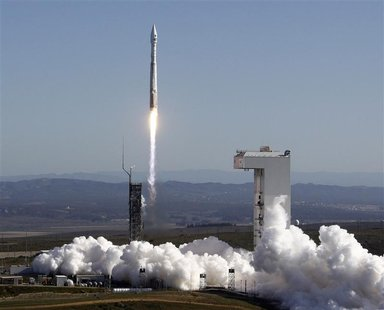 The United Launch Alliance (ULA) Atlas-V rocket with the Landsat Data Continuity Mission (LDCM) spacecraft onboard is seen as it launches at