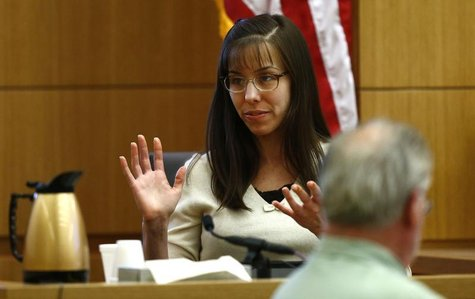 Jodi Arias gives testimony during her court appearance at the Maricopa County Superior Court in Phoenix, Arizona, February 11, 2013. REUTERS