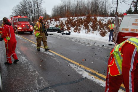Crash scene on Highway 10 near Fairchild 2/10/13.  Photos by Clark County Sheriff's Department.