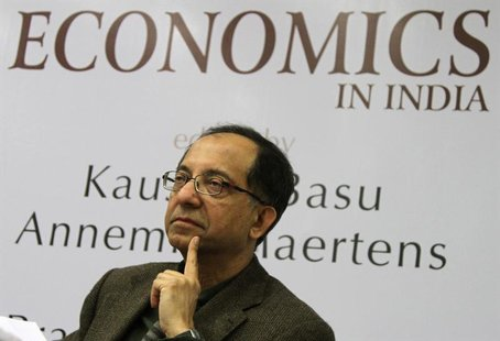 "Kaushik Basu speaks during the book release ""The New Oxford Companion to Economics in India"" edited by Basu and Annemie Maertens, in New Del"
