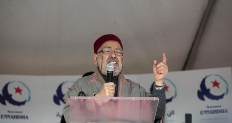 Rached Ghannouchi, leader of the Islamist Ennahda movement, Tunisia's main Islamist political party, gives a speech during a public meeting