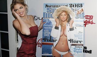 Supermodel Kate Upton poses at the launch party of the Sports Illustrated's 2013 Swimsuit issue, which features her on the cover, in New Yor