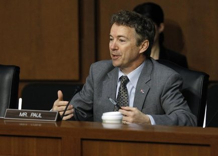 U.S. Senator Rand Paul (R-KY) questions Senator John Kerry (Not Pictured) during a Senate Foreign Relations Committee confirmation hearing o