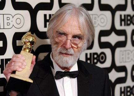 "Director Michael Haneke, Golden Globe winner for best foreign film ""Amour"" arrives at the HBO after-party following the 70th annual Golden G"